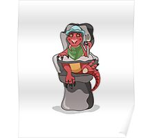 Illustration of a baby Tyrannosaurus Rex sitting in a high chair. Poster