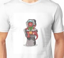 Illustration of a baby Tyrannosaurus Rex sitting in a high chair. Unisex T-Shirt
