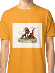 Illustration of a Tyrannosaurus Rex boss sitting at a desk. Classic T-Shirt