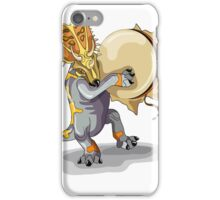 Illustration of a Chasmosaurus dancing a shaman ritual with tambourine. iPhone Case/Skin