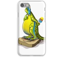Illustration of a Lambeosaurus standing on a weight scale. iPhone Case/Skin
