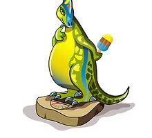 Illustration of a Lambeosaurus standing on a weight scale. by StocktrekImages
