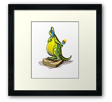 Illustration of a Lambeosaurus standing on a weight scale. Framed Print