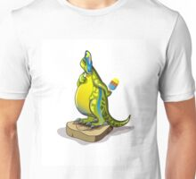 Illustration of a Lambeosaurus standing on a weight scale. Unisex T-Shirt
