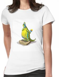 Illustration of a Lambeosaurus standing on a weight scale. Womens Fitted T-Shirt