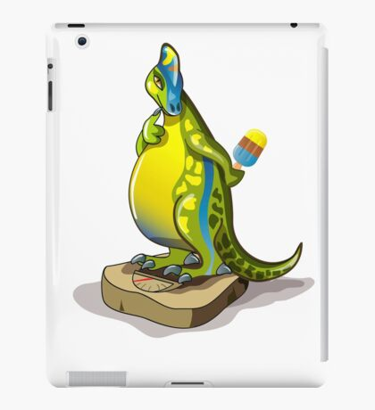 Illustration of a Lambeosaurus standing on a weight scale. iPad Case/Skin