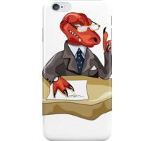Illustration of a Tyrannosaurus Rex boss sitting at a desk. iPhone Case/Skin