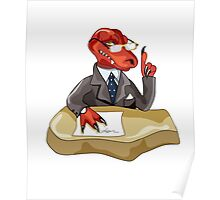 Illustration of a Tyrannosaurus Rex boss sitting at a desk. Poster
