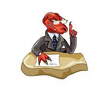 Illustration of a Tyrannosaurus Rex boss sitting at a desk. Photographic Print