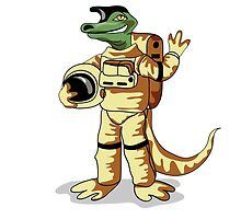 Illustration of an Iguanodon dressed in a cosmonaut spacesuit. by StocktrekImages