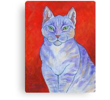 Blue Boy, With Red Wall Canvas Print