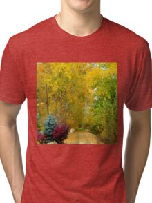 Walking path/drive way in Autumn Tri-blend T-Shirt