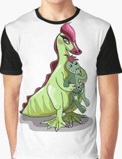 Illustration of a female Hadrosaurus holding a doll. Graphic T-Shirt