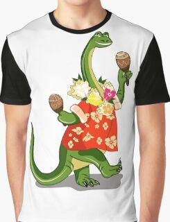 Illustration of a Brontosaurus playing maracas. Graphic T-Shirt