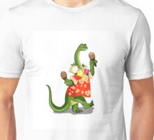 Illustration of a Brontosaurus playing maracas. Unisex T-Shirt