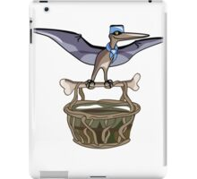 Illustration of a Pteranodon carrying a basket, representing dino airlines. iPad Case/Skin