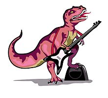 Illustration of Tyrannosaurus Rex playing the guitar. by StocktrekImages