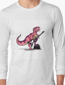 Illustration of Tyrannosaurus Rex playing the guitar. Long Sleeve T-Shirt