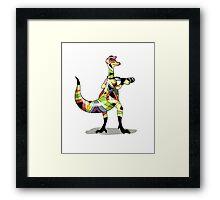 Illustration of an Iguanodon photographer. Framed Print