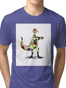 Illustration of an Iguanodon photographer. Tri-blend T-Shirt