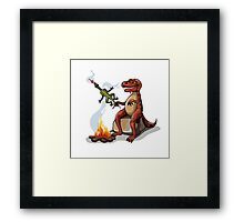 Illustration of a Tyrannosaurus Rex cooking food over a campfire. Framed Print