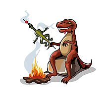 Illustration of a Tyrannosaurus Rex cooking food over a campfire. Photographic Print