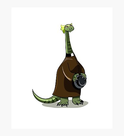 Illustration of a Plateosaurus dressed as a priest. Photographic Print