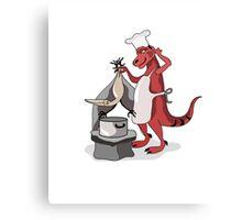 Illustration of a Tyrannosaurus Rex chef cooking. Canvas Print