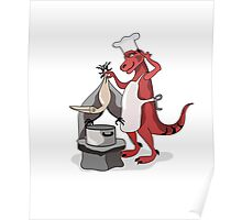 Illustration of a Tyrannosaurus Rex chef cooking. Poster