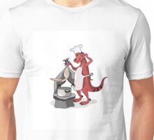 Illustration of a Tyrannosaurus Rex chef cooking. Unisex T-Shirt