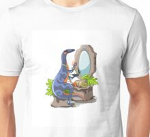 Illustration of an Iguanodon putting on make-up. Unisex T-Shirt