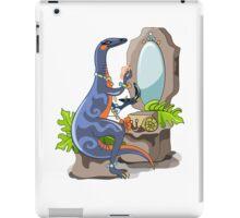 Illustration of an Iguanodon putting on make-up. iPad Case/Skin