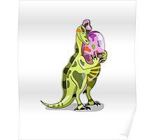 Illustration of a Lambeosaurus holding an egg. Poster