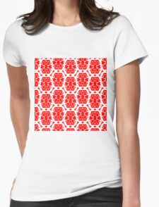 Audrey Ruby Red White Pattern Womens Fitted T-Shirt