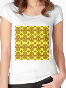 Audrey Yellow Brown Pattern Women's Fitted Scoop T-Shirt