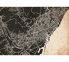 Barcelona map ink lines 2 Photographic Print