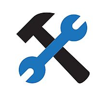 Wrench and hammer icon Photographic Print