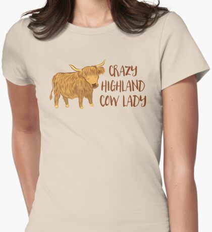 Crazy Highland cow lady Womens Fitted T-Shirt