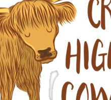 Crazy Highland cow lady Sticker
