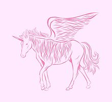 Striped Winged unicorn in pink by jazzydevil