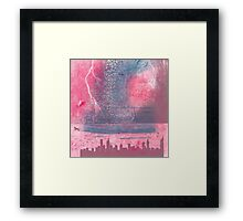 Town and the storm, pink, gray, blue Framed Print