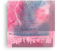 Town and the storm, pink, gray, blue Metal Print