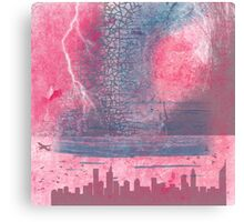 Town and the storm, pink, gray, blue Canvas Print