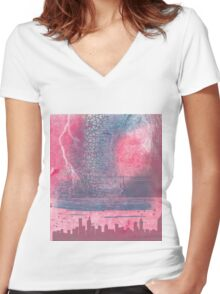 Town and the storm, pink, gray, blue Women's Fitted V-Neck T-Shirt