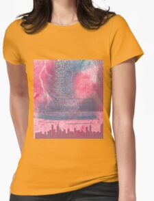 Town and the storm, pink, gray, blue Womens Fitted T-Shirt