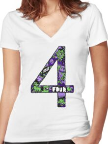 Abstract Four Women's Fitted V-Neck T-Shirt