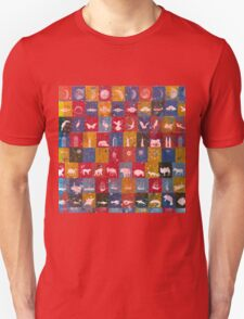 Life in the squares, colors, animals, planes, spaceships, ships Unisex T-Shirt