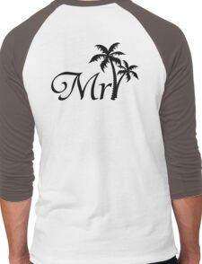 His and Hers Mr and Mrs Tropical Palm Tree Wedding Honeymoon  Men's Baseball ¾ T-Shirt