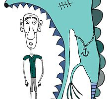 Fish eating guy with a rollers, blue, fish, rollers, scary by jblitlemonsters