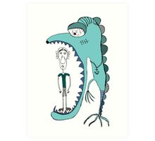 Fish eating guy with a rollers, blue, fish, rollers, scary Art Print
